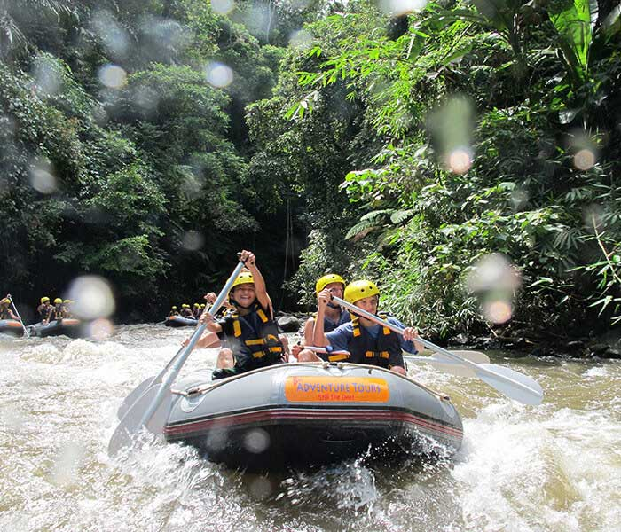 Fun white water rafting in Bali