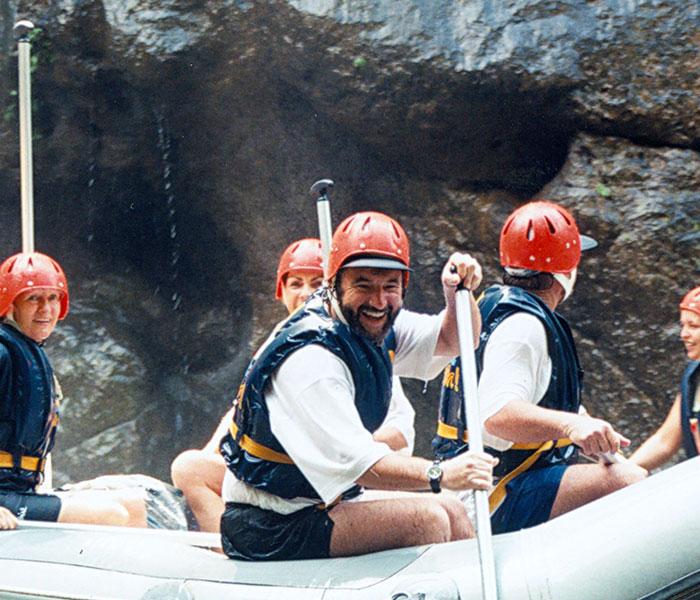 some poeple enjoying water rafting in Bali